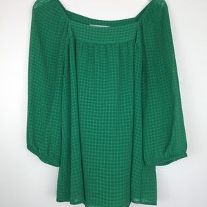 AVENUE Kelly Green flowy tunic Sz 14/16